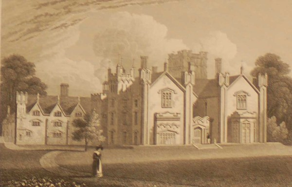 Stanley Hall Shropshire, antique print, an engraving from the late Georgian period. The original drawing was done by J P Neale.