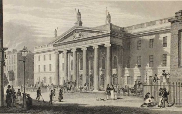 Post Office Dublin, 1832 Antique Print. The print was engraved by Benjamin Winkles and is after a drawing by George Pertrie.