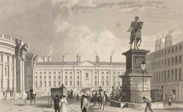 Antique print from 1832 of Trinity College from College Green, Dublin, Ireland. The print was engraved by J Davis and is after a drawing by William Bartlett.