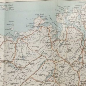 Antique map of Donegal North West Section from 1887 from 1887. Map shows from Aran Island over to Derry and up to Fanad Head.