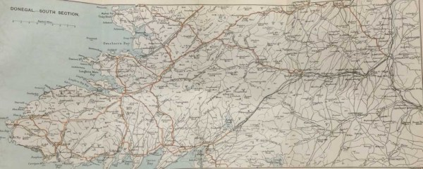 Antique map of Donegal South Section from 1887 from 1887. Map shows from Strabane in County Derry over to Malin Bay and as far north as Letterkenny ( small part).