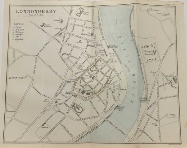 Antique plan, a map of Derry Londonderry from 1887. The map was originally produced as a guide for visitors to Derry and as well as a street guide it contains on the left a list of hotels.
