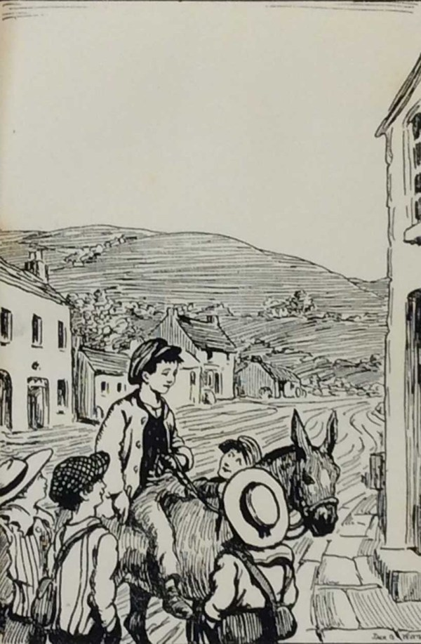 Antique print Jack B Yeats from 1912 titled The Boys From Ballycastle, after a set of drawings that Yeats did looking at life in the West of Ireland. Very rare.
