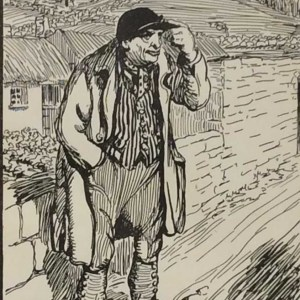 Antique print Jack B Yeats from 1912 titled The Old Huntsman, after a set of drawings that Yeats did looking at life in the West of Ireland. Very rare.