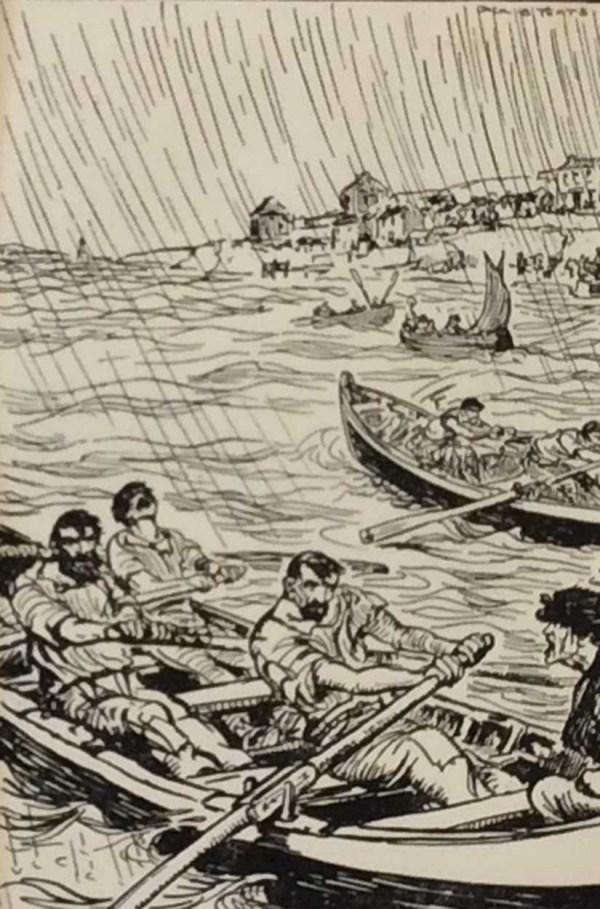 Antique print Jack B Yeats from 1912 titled Regatta, after a set of drawings that Yeats did looking at life in the West of Ireland. Very rare.