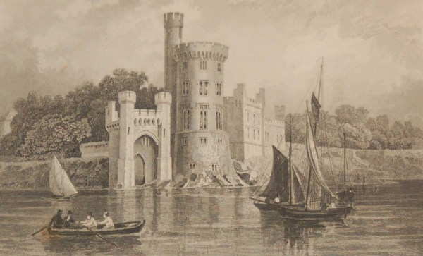 Antique print from 1832 of Blackrock Castle Cork from the River Lee. The print was engraved by R Winkles and is after a drawing by William Bartlett.