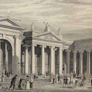 Antique print from 1832 of the Bank of Ireland, South Portico, Dublin. The print was engraved by Benjamin Winkles and is after a drawing by George Petrie.