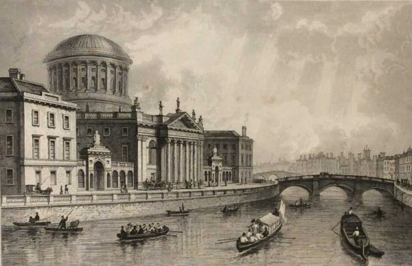 Antique print from 1832 of the Four Court's Dublin. The print was engraved by Owen and is after a drawing by William Bartlett.