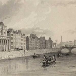 Antique print from 1832 of the Cloth Mart, Hone's Hotel & Queens' Bridge, Usher's Quay Dublin.
