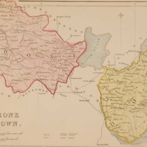 Antique colour Map of Tyrone & Down , the map was engraved by A Adlard and published by Hall and Virtue in London, produced between 1846 and 1850.