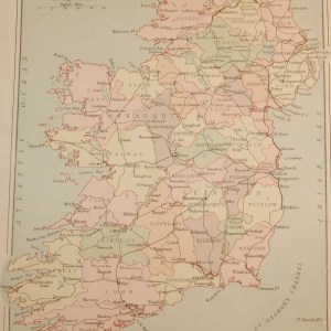 Antique map published in 1883 titled Key Map of Ireland Showing Railways. The map where done by John Bartholomew and where printed by George Philips.