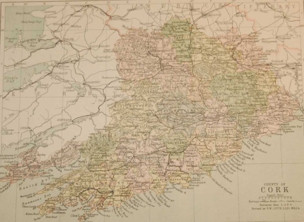 Antique map published in 1883 of County Cork, Ireland. The map breaks the county down into it's historical baronies including Orrery & Kilmore, Duhallow, Fermoy, Barretts, Gondons Clangibbon, West Muskerry, Eastmuskerry, Kinalmeaky, West Carberry.