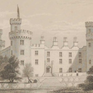Antique print from 1832 of Kilkenny Castle North Front. The print was engraved by W Taylor and is after a drawing by Robertson.