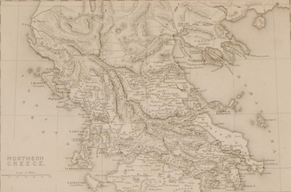 Antique map from the early Victorian period of Northern Greece. The map dates from 1840 and was drawn and engraved by J Dower, Pentonville, London.