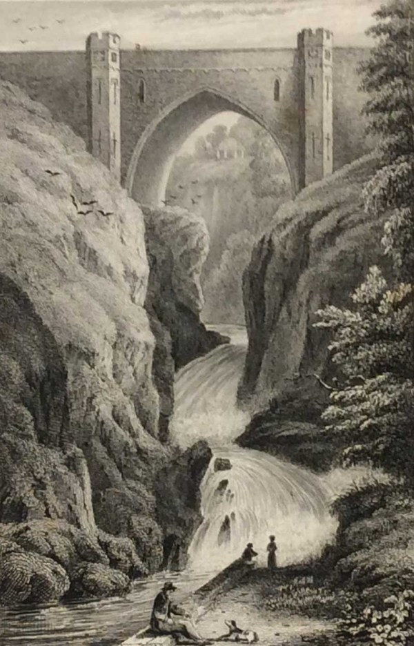Antique print from 1832 of Poulaphuca Waterfall County Wicklow. The print was engraved by J Rogers and is after a drawing by B Kirchoffer RHA.