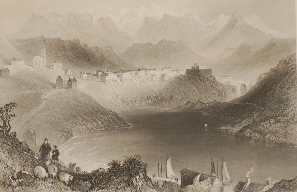 Antique prints from the 1840's of Clifden and Clifden Castle, Connemara, Galway.