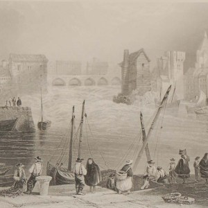Antique prints from the 1840's of Galway, Galway from the Claddagh, Street in Galway and Abbey of Claregalway.