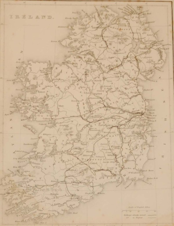 Antique map of Ireland by the well known geographer William Hughes from the 1840's.