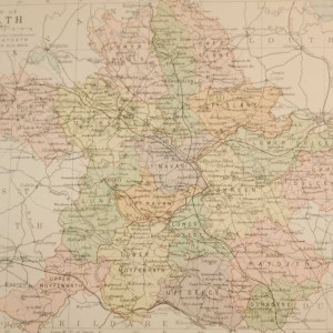 Antique map of County Meath, Ireland. The map breaks the county down into it's historical baronies including Slane, Kells, Fore, Lune, Moyfenrath, Deece, Navan, Dunboyne, Ratoath, Skreen.