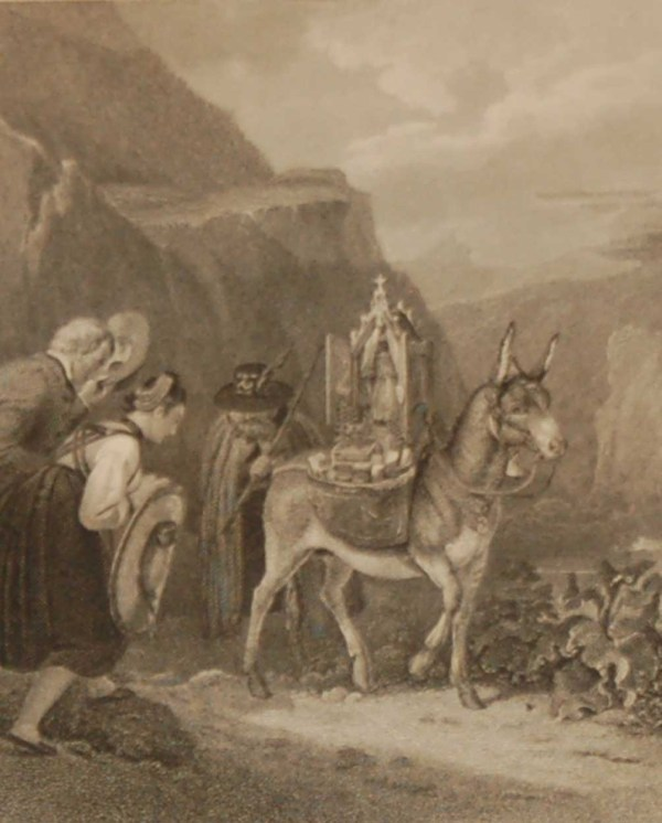 Antique Victorian print, an engraving published in 1840 after a painting by Le Prince, titled Devotees & The Relic. Engraved by R R Corbould.