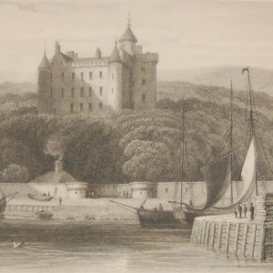 Antique Victorian print, an engraving published in 1840 after a painting by W Daniell R.A. titled Dunrobin Castle. The work was engraved by M J Starling.