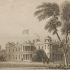 Antique Victorian print, an engraving published in 1840 after a painting by William Daniell R.A., titled Goodwood the seat of the Duke of Richmond. Engraved by R Acon.