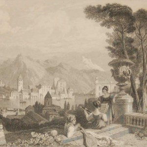 Antique Victorian print, an engraving published in 1840 after a painting by Charles Fredrick Stanfield, titled The Lake of Como. Engraved by R Wallis.