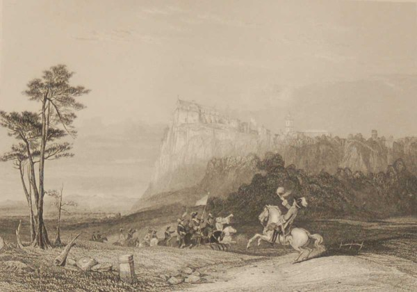Antique Victorian print, an engraving published in 1840 after a painting by G Cattermole, titled Stirling Castle. The work was engraved by E Radclyffe.