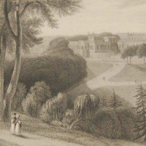 Antique Victorian print, an engraving published in 1840 after a painting by William Daniel R.A., titled Bishops Auckland Palace. Engraved by James Redaway.