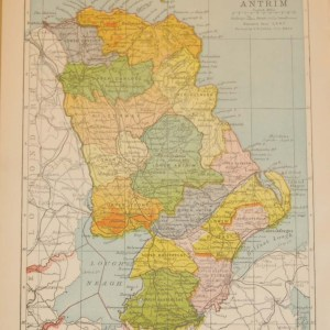 Antique map of County Antrim. The map breaks the county down into it's historical baronies including Massereene, Belfast, Carrickfergus, Gleanarm, Antrim, Toome, Kilconway, Dunluce, Cary.