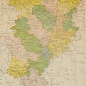 Antique map of County Kildare. The map breaks the county down into it's historical baronies including Carbury, Clane, Ikeathy & Oughterany, North and South Salt, East & West Offaly, Connell, Kilcullen, North & South Naas.