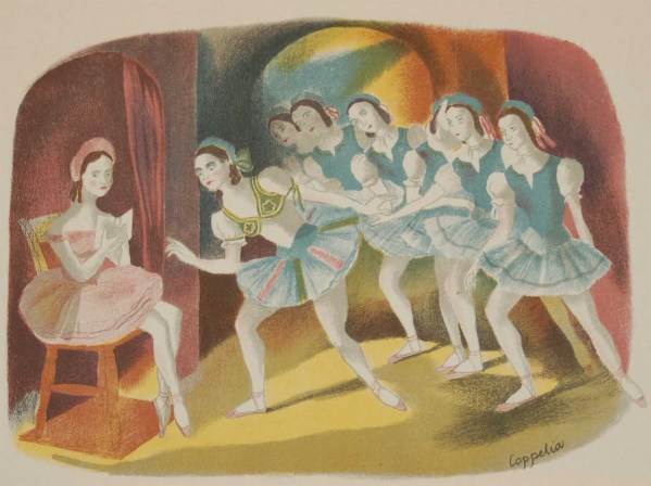 Vintage colour print by Sheila Jackson from 1945 titled Coppelia.