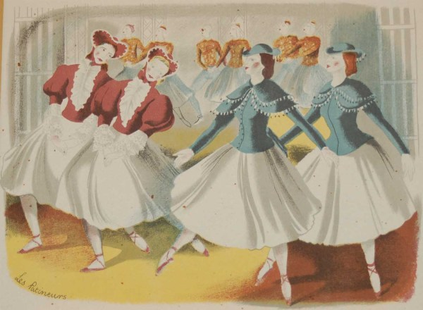 Vintage colour print by Sheila Jackson from 1945 titled Les Patineurs.