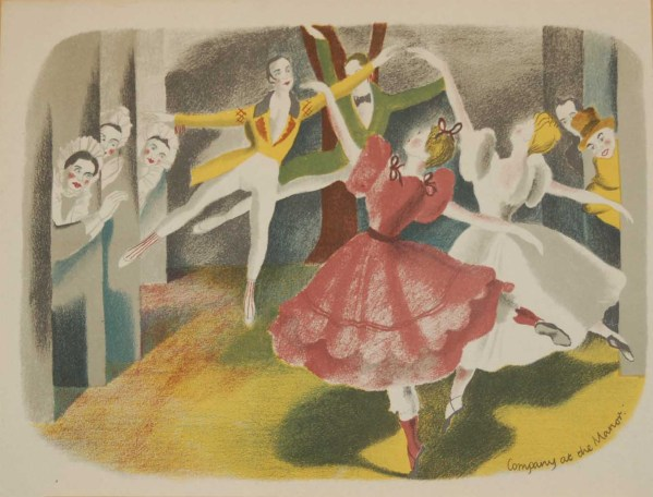 Vintage colour print by Sheila Jackson from 1945 titled Company at the Manor, from Ballet in England.