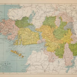 Antique map published in 1902 of County Galway, Ireland. The map breaks the county down into it's historical baronies.