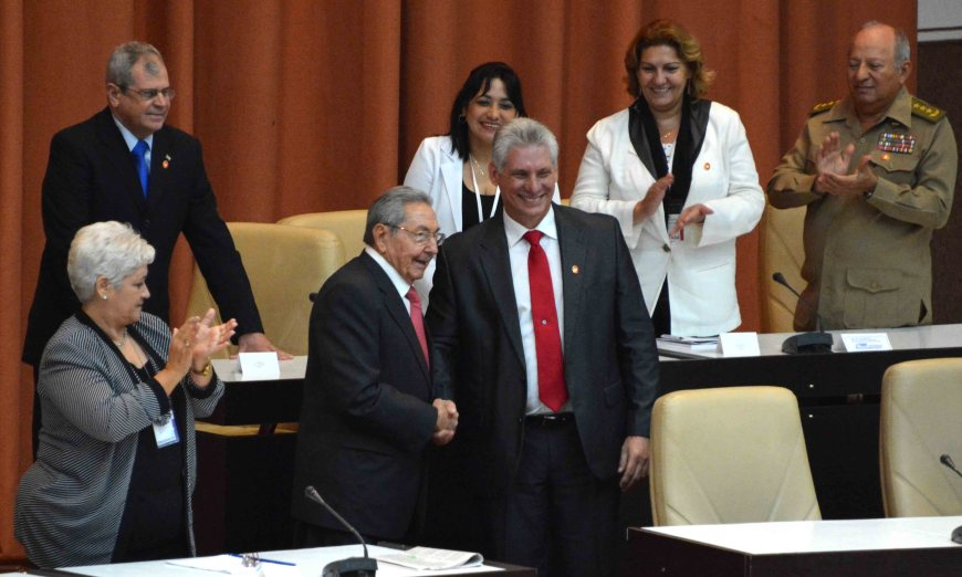 President Miguel Diaz-Canal shakes hands with Comrade Raul Castro at Cuba's IX National Assembly for People's Power.