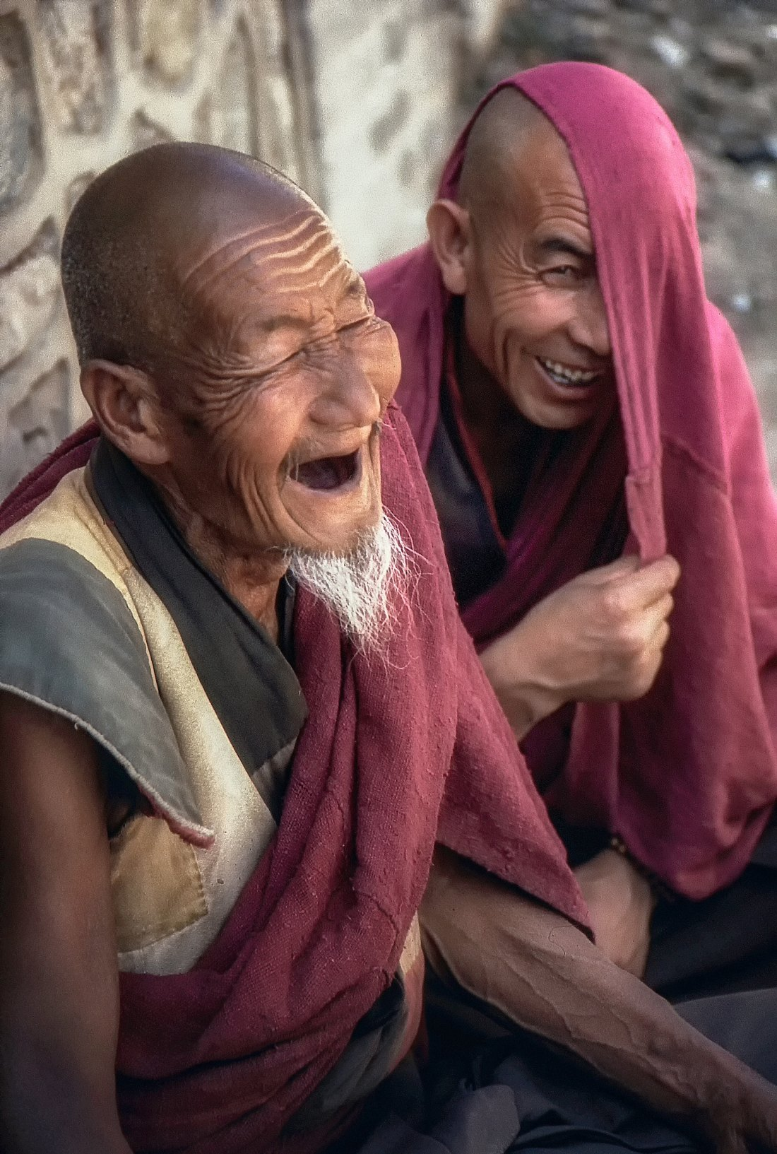Monks laughing