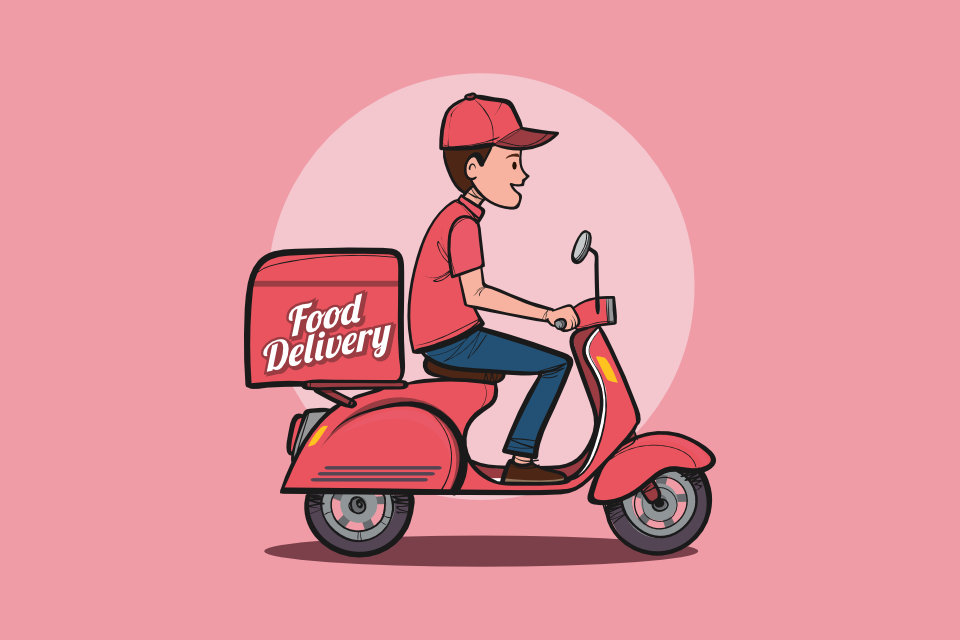 Food delivery driver scooter