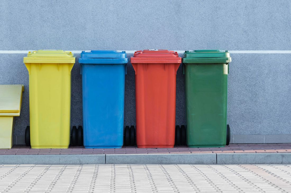 Colourful wheeley bins