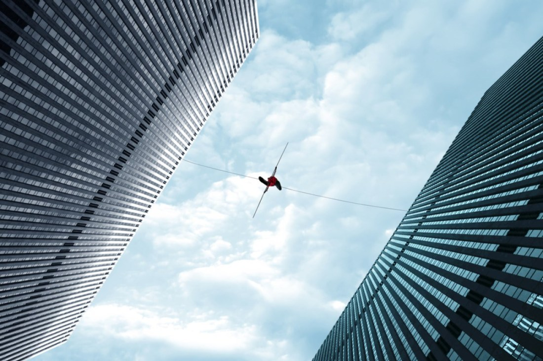 Tightrope over building