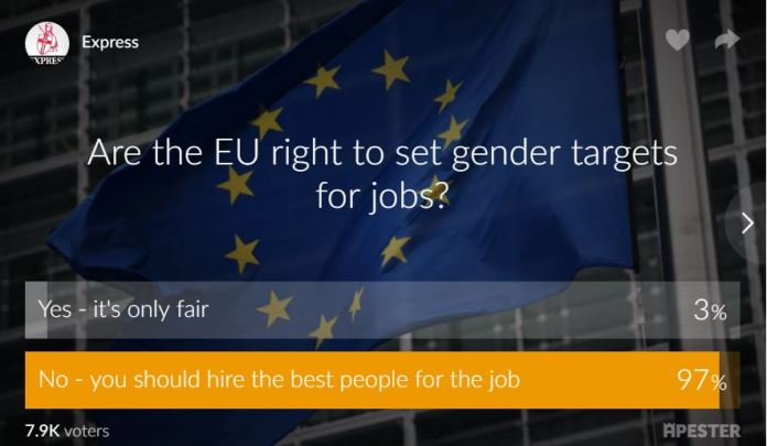 EU bureaucrat threatens to FREEZE job offers for men