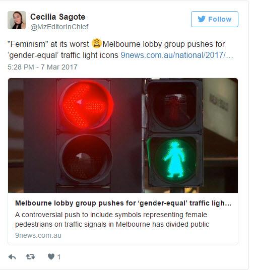 Female pedestrian crossing