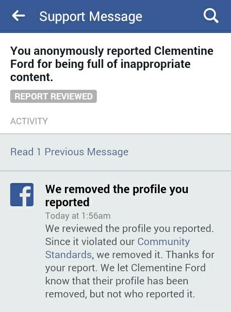 Clementine Ford is on a facebook ban exemption list