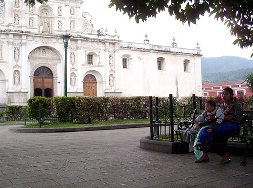 Antigua's Cathedral from the park