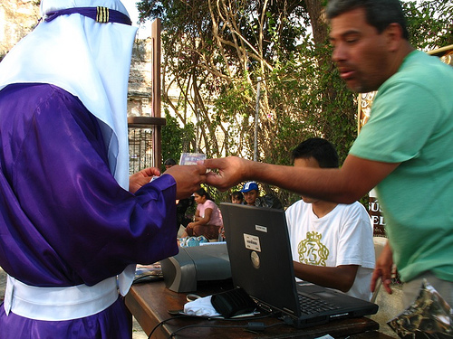Cucurucho Paying for His Turns at the Float