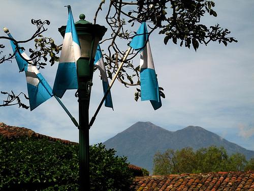 Guatemalan Flags and Acatenango Volcano