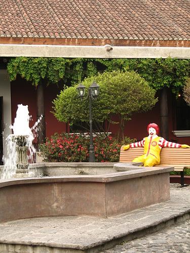 Ronal McDonald is Watching the Fountain in La Antigua Guatemala
