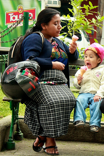 Mother and Son Eating Ice Cream at the Park