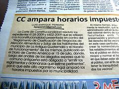 CC ampara horarios impuestos por la Municipalidad de Antigua