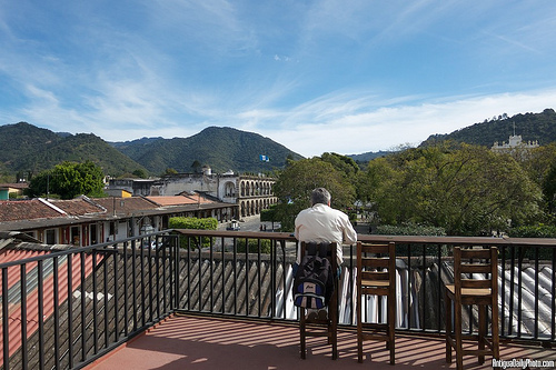 Having Breakfast at La Casaca coffee shop in Antigua Guatemala by Rudy A. Girón